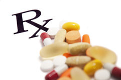 Píldoras de Rx imagenes de archivo