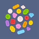 Píldoras del éxtasis MDMA ilustración del vector