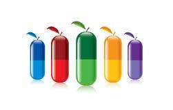 Píldoras del color Stock de ilustración