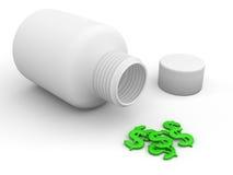 Píldoras del dólar Foto de archivo libre de regalías