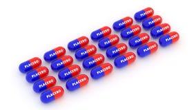 Píldoras del placebo 3d Droga medicina Imagen de archivo libre de regalías