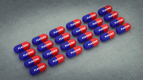 Píldoras del placebo 3d Droga medicina Fotografía de archivo