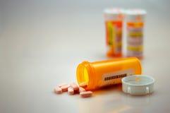 Píldoras derramadas, prescri derramado Fotografía de archivo