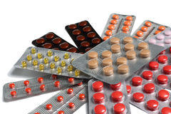 Píldoras en ampollas Foto de archivo libre de regalías