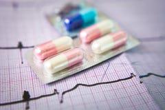 Píldoras en el cardiograma Fotografía de archivo libre de regalías