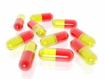Píldoras en el fondo blanco ilustración del vector