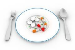 Píldoras en la placa libre illustration