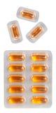 Píldoras en paquetes de ampolla como fondo foto de archivo