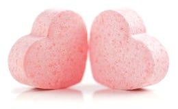 Píldoras formadas corazones del azúcar. fotografía de archivo libre de regalías