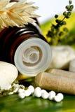 Píldoras homeopáticas sobre una hoja verde Imagen de archivo