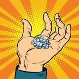 Píldoras médicas a disposición ilustración del vector