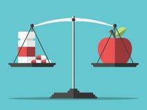 Píldoras, manzana y balanza ilustración del vector