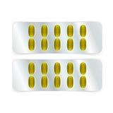 Píldoras ovales en ampolla Fotos de archivo