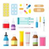 Píldoras, tabletas y botellas de la medicina en un estilo plano Imagenes de archivo