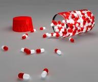 Píldoras y botella de Aspirin Imagen de archivo libre de regalías