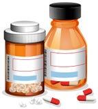 Píldoras y cápsula en el fondo blanco ilustración del vector