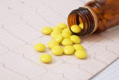 Píldoras y cardiograma Foto de archivo libre de regalías