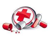 Píldoras y cuidado médico ilustración del vector