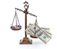 Píldoras y dinero imagen de archivo libre de regalías