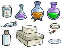 Píldoras y jeringuilla del frasco de la medicina de la historieta stock de ilustración