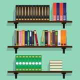 Półka na książki pełno książki ilustracja Obrazy Stock