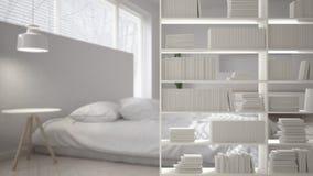 Półka na książki w górę, odkładający przedpole, wewnętrznego projekta pojęcie, nowożytna biała jaskrawa sypialnia ilustracja wektor