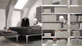 Półka na książki w górę, odkładający przedpole, wewnętrznego projekta pojęcie, nowożytna luksusowa sypialnia w tle royalty ilustracja