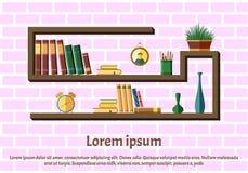Półka na książki z kolorowymi książkami royalty ilustracja
