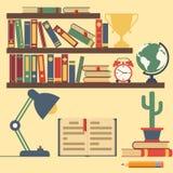 Półka na książki z książkami, domowa biblioteka royalty ilustracja
