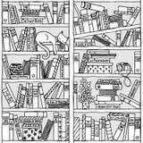 Półka na książki z sypialnym kotem (bezszwowy wzór) ilustracji