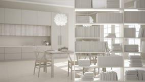 Półka na książki zakończenie, odkłada przedpole, wewnętrznego projekta pojęcie, klasyczna jaskrawa kuchnia w tle ilustracja wektor