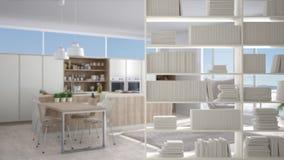 Półka na książki zakończenie, odkłada przedpole, wewnętrznego projekta pojęcie, nowożytna minimalistyczna kuchnia royalty ilustracja