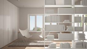 Półka na książki zakończenie, odkłada przedpole, wewnętrznego projekta pojęcie, scandinavian żywy pokój zdjęcie royalty free