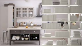 Półka na książki zakończenie, odkłada przedpole, wewnętrznego projekta pojęcie, scandinavian kuchnia w tle zdjęcie royalty free