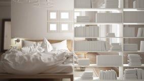 Półka na książki zakończenie, odkłada przedpole, wewnętrznego projekta pojęcie, scandinavian sypialni tło obrazy stock