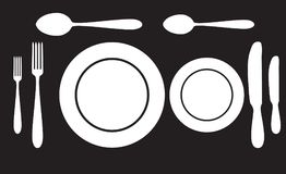 Półkowa łyżkowa rozwidlenia i noża ikona obrazy stock