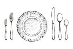 Półkowa jadalnia z rozwidlenie łyżkami i nożowym wektorowym nakreśleniem Cutlery set handmade odosobniony rocznika rysunek na bia royalty ilustracja