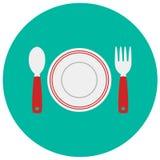 Półkowego łyżkowego rozwidlenia śliczna ikona w modnym mieszkanie stylu odizolowywającym na koloru tle Kitchenware symbol dla twó Zdjęcie Royalty Free