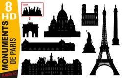 Półkowej liczby 1 piktogramy Paryjscy zabytki z wieżą eifla, Montmartre lub Orsay, royalty ilustracja