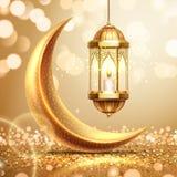 Półksiężyc i lampion na Ramadan kartce z pozdrowieniami royalty ilustracja