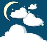 Półksiężyc księżyc chmur gwiazdy Fotografia Stock