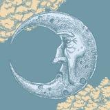Półksiężyc księżyc twarzy rocznika rysunek ilustracji