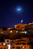 Półksiężyc nad miastem Obraz Stock