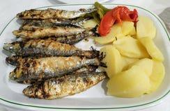 Półmisek świeże piec na grillu sardynki z grulami i pieprzami Typowy naczynie w Portugalia zdjęcia royalty free