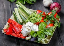 Półmisek asortowani świezi warzywa i feta ser na lekkim drewnianym tle zdjęcia stock