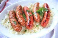 Półmisek kiełbasy z sauerkraut Fotografia Stock