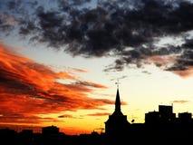 Półmrok na dachach miasto obrazy royalty free