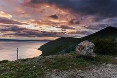 Półmrok nad Adriatyckim morzem, Cres wyspa zdjęcie royalty free