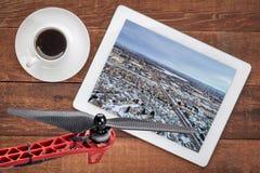 Półmrok nad miastem fort Collins w Kolorado zdjęcia stock