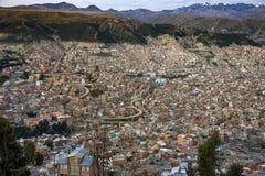 Półmrok nad miastem los angeles Paz, Boliwia, Ameryka Południowa - obraz royalty free
